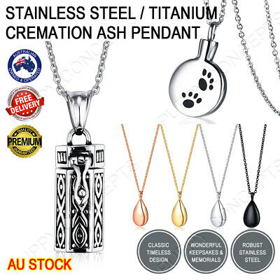 Stainless Steel Metal Cremation Jewellery Memorial Ash Urn Necklace Pendant Paw