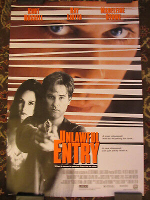 UNLAWFUL ENTRY Starring Kurt Russell & Ray Liotta  ORIGINAL Movie Theater Poster