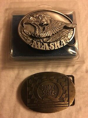 2 Vintage Belt Buckles Quaker State 1989 Siskiyou Buckle Co Bald Eagle