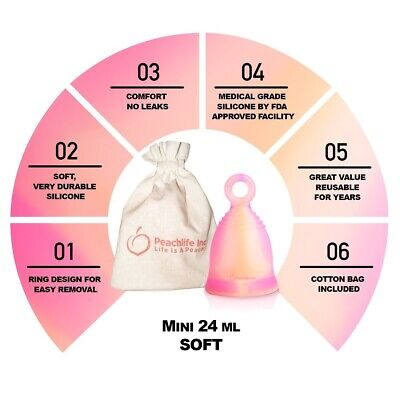 Peachlife FDA Mini Soft Menstrual Period Cup - Ring Easy Removal - No Tampon Pad