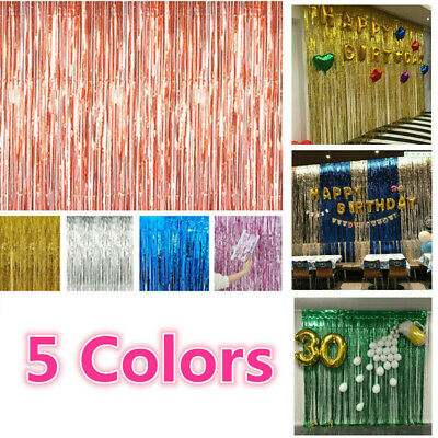 5pcs Foil Fringe Tinsel Shimmer Curtain Birthday Wedding Wall Door Room Decor UK