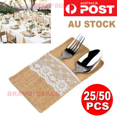 25/50X Hessian Burlap Cutlery Holder Lace Rustic Wedding Party Table Decorations