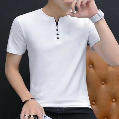 Men Basic T-shirts 100% Cotton Short Sleeve Summer Korean Youth Blouses Tops New