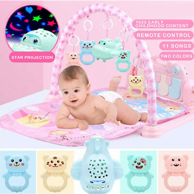 Two Colors Baby Gym Foot Piano Remote Control Projection Baby Early Education