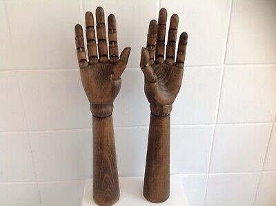 A Pair Of Articulated Wooden Hands 17 Inch Adjustable Wrist & Fingers