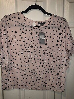 Girls Pink Star Print Top Age 13-14 years From Matalan BNWT