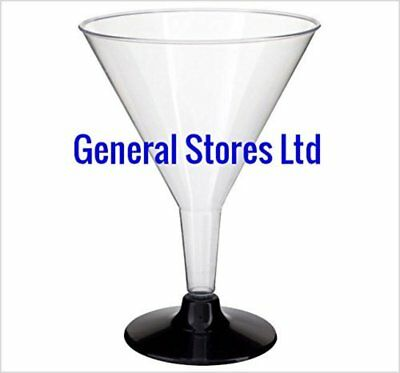 GSL 10 x LARGE CLEAR PLASTIC PARTY MARTINI COCKTAIL GLASSES BLACK BASE - 200ml