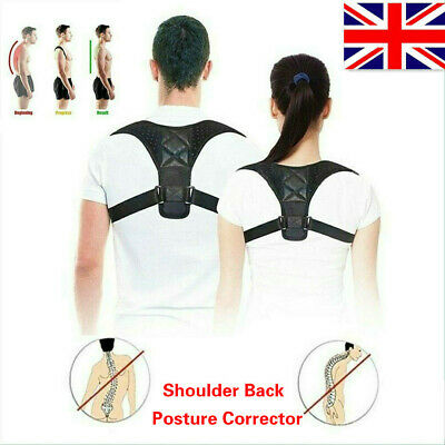 Body Shape Wellness Posture Corrector Adjustable Shoulder Back Support Belt UK