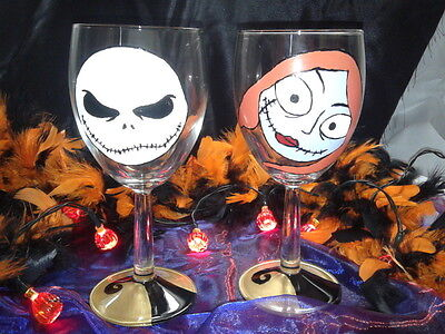 Hand Painted Nightmare Before Christmas, Jack and Sally Detail Wine Glasses