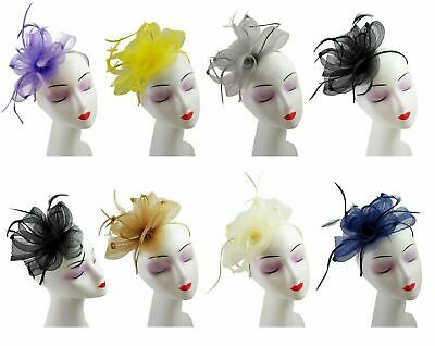 Ladies Synthetic Feathers Fascinator Aliceband Hat Hair Band Day Race Royal New