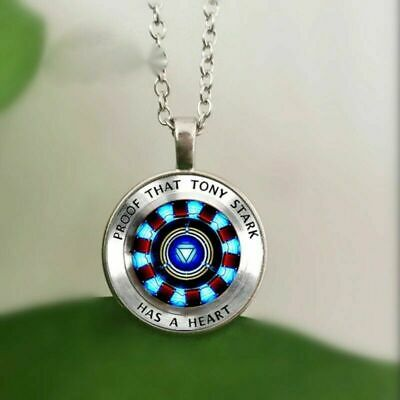 Avengers Endgame Iron Man Tony Stark Necklace Chain Heart Crystal Glass Pendant