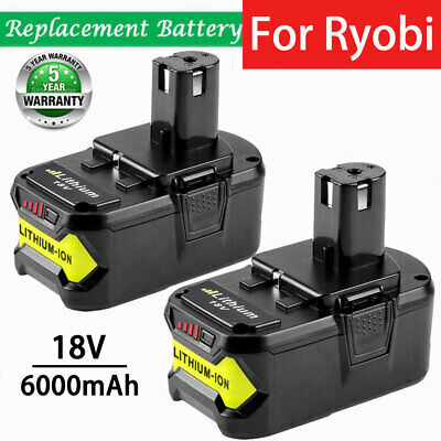 2X For Ryobi ONE+18V 6.0Ah Lithium Battery P100 P102 P104 P105 P108 P107 RB18L50
