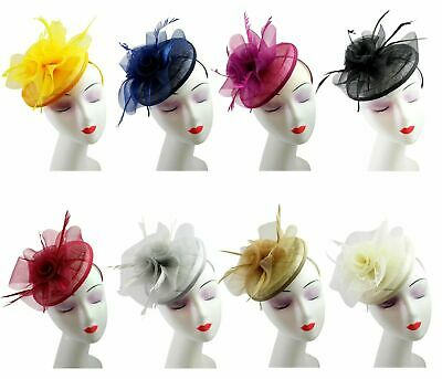 Ladies Womens Sinamay Feather Fascinator Elegant Royal Ascot Races Headpiece