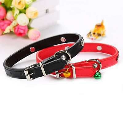 Pet Cat Dog PU leather Collar Puppy Kitten Adjustable Traction Collar with Bell