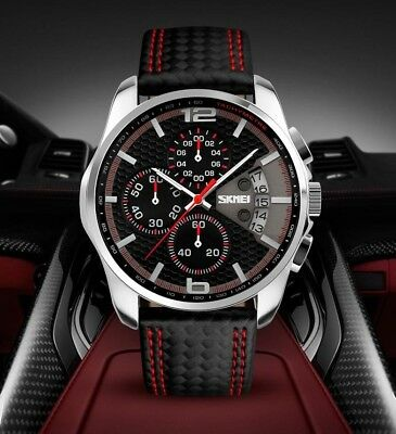 SKMEI Mens Leather Waterproof Sport Watches Date Quartz Chronograph Luxury Watch
