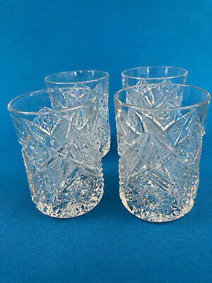 4 Antique Edwardian U.S. Glass, clear pressed glasses, #15124 OMNIBUS , c.1900s