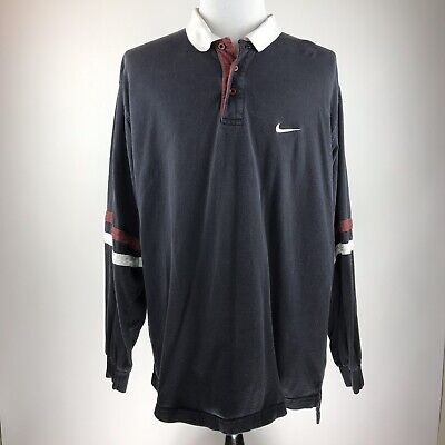 b37815df Vintage Nike Mens XXL Polo Rugby Collar Long Sleeve Shirt Black Large Spell  Out