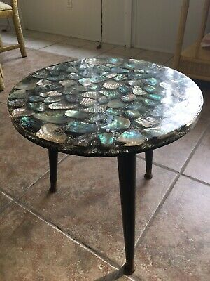 Vintage Abalone Table Mid Century Modern She'll Inlays Acrylic