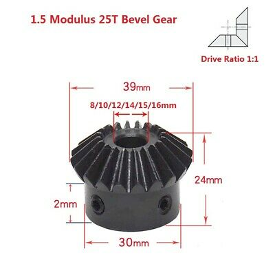 1.5 Modulus 25T Umbrella Gear 90° 1:1 Pairing Bevel Gear Bore 8/10/12/14/15/16mm