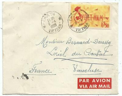 Vietnam 6$30+0D50X2 Verso Lettre Cover Avion Cholon 9.4.1959 To France