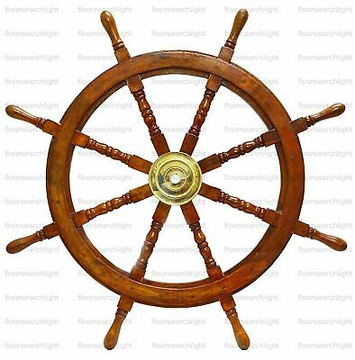 "36"" Wooden Ship Steering Wheel Brass Antique Vintage Ring Nautical Wall Decor"