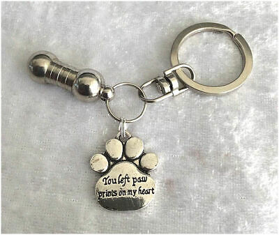 Pet Ashes Urn Jewellery Keyring - You Left Paw Prints.... Cremation Keepsake