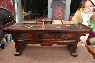 """23.2"""" Collection China Dynasty Old Wood Inlay Shell Cabinet Drawer Book Table"""