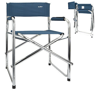 Outdoor Folding Camping Director Chair Festival Fishing Furniture Aluminium Blue