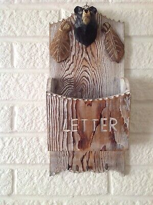 Shabby Chic Letter/Key Rack with Bear Decoration