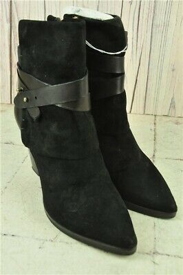 MINT VELVET Black Booties Leather & Suede Style Heeled Boots with Zip Size 5 /38