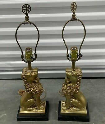 Vintage Pair Of Hollywood Regency Brass Lion Lamps - Free Shipping