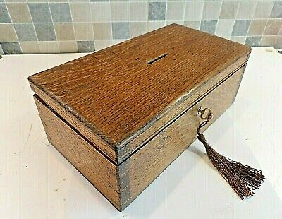 Victorian Solid Tiger Oak (Money) Box Ideal Size For Chess Pieces - Lock & Key