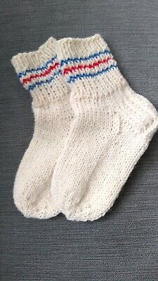 Handknitted 100% Merino wool socks 36-48 months/ 3-4 years Blood Circulation NEW