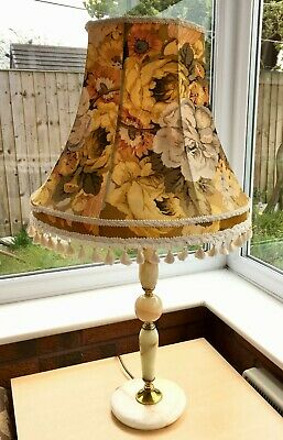 Vintage Antique Gilt Brass Rare Onyx Marble Table Lamp 1950s 1960s Floral Shade