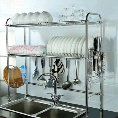 be6ba49612ca Dish Drying Rack Over Sink 2 Tier Adjustable Display Stand Utensil Drainer  Board