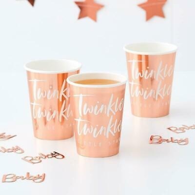 Rose Gold Twinkle Twinkle Cups - pack of 8