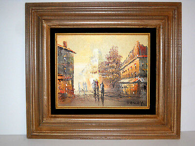 "Vintage Mid Century Cityscape Abstract Oil Painting on Canvas 17""x15"" Framed"