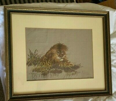 ANTIQUE Realistic EMBROIDERED LION, SOYZAEMON NISHIMURA? Framed, Excellent BO