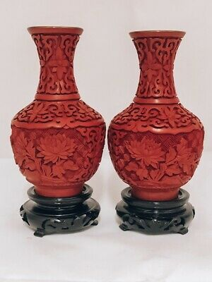 Very Old Cinnabar Lacquer Chinese Red Pair of Vases/Blue Enamel Inside