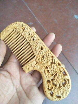 Boxwood carved plum, orchid, bamboo and chrysanthemum comb