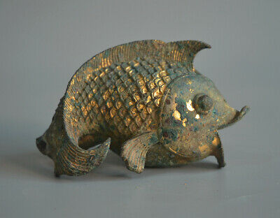 Amazing Chinese Ancient Gold Plated Bronze Fish Statue For Ceremony 4.33""
