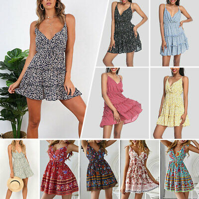 Women Summer Boho Strappy Short Mini Dress Evening Party Beach Dresses Sundress