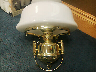 Vintage Antique White Glass & Brass Hanging Lamp /Rail Road/Drawing Patrol Lamps