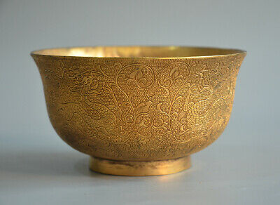 Superb Chinese Ancient Gold Plated Bronze Double Dragon And Floral Pattern Bowl