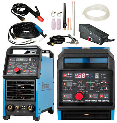 Sherman DIGITIG 200GD 200A AC/DC MMA IGBT Inverter Pulse Welder TIG + Foot Pedal