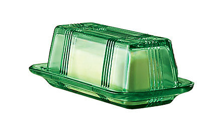 Depression Style Glass Butter Dish, Classic Green, Green