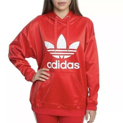 eb1928f9e58a4 ADIDAS ORIGINALS TREFOIL Red SATIN HOODIE WOMENS SZ XL #CE5434 NWT $70