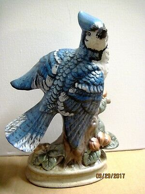 Vintage Beautiful 7 in Hand Painted Blue Jay With Flowers