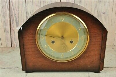 SMITHS VINTAGE WIND UP MANTLE CLOCK. Dark Wood SPARES AND REPAIRS Not Working.
