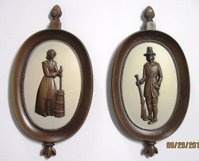 Vintage Syroco Wood Wall Art Plaques Set of 2 Figurines (Woman & Man)
